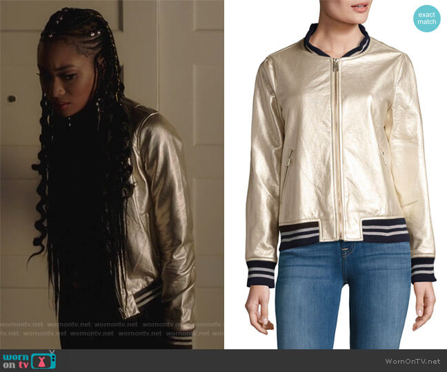 Metallic Bomber Jacket by Dolce Cabo worn by Tangey Turner (Pepi Sonuga) on Famous in Love