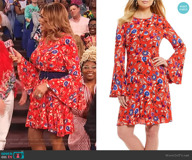 Printed Bell Sleeve Dress by Donna Morgan worn by Wendy Williams  on The Wendy Williams Show