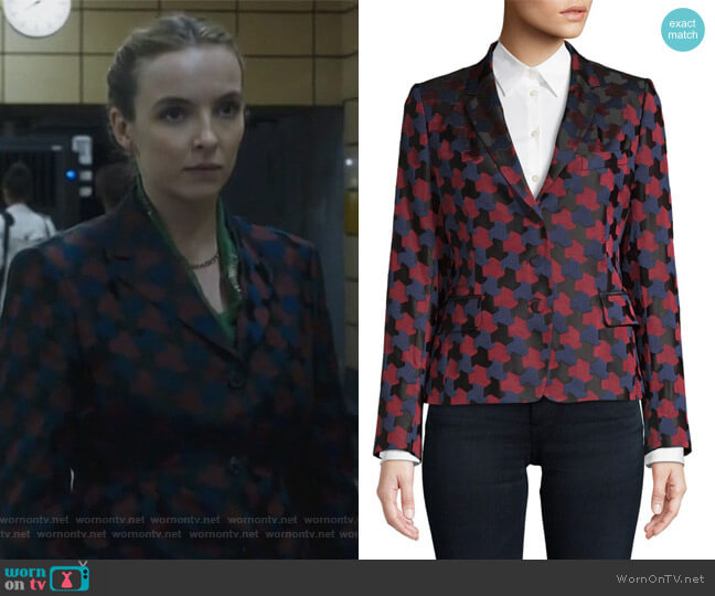 Brocade Printed Blazer by Dries Van Noten worn by Jodie Comer on Killing Eve