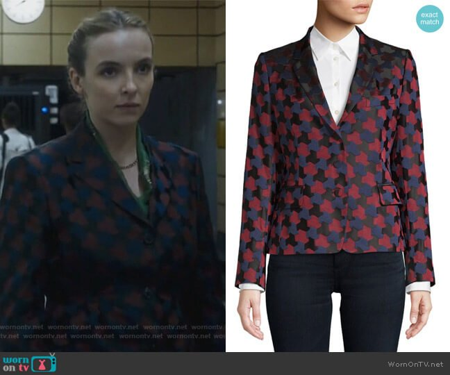 Brocade Printed Blazer by Dries Van Noten worn by Villanelle (Jodie Comer) on Killing Eve