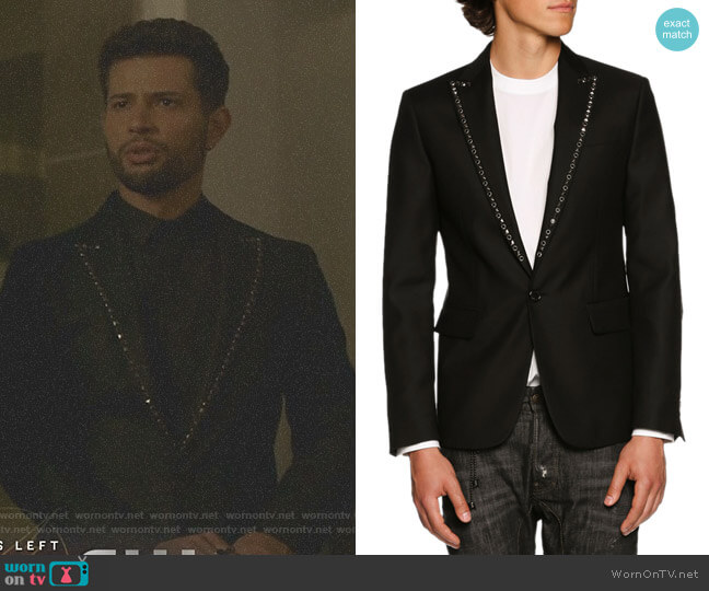 Studded-Lapel Single-Button Blazer by Dsquared2 worn by Rafael de la Fuente on Dynasty