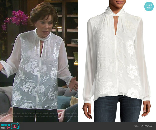 Elastia Floral-Flocked Blouse by Elie Tahari worn by Louise Sorel on Days of our Lives