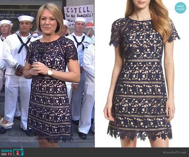 Crochet Overlay Dress by Eliza J worn by Dylan Dreyer on Today