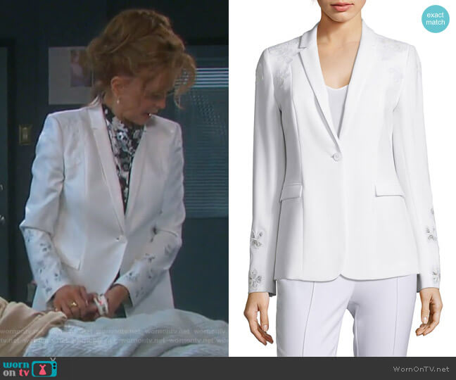 Mauricia Lace Applique Crepe Blazer by Elie Tahari worn by Suzanne Rogers on Days of our Lives