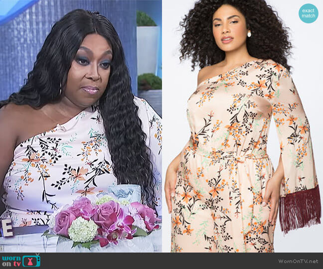 One Shoulder Jumpsuit with Fringe Detail by Eloquii worn by Loni Love (Loni Love) on The Real