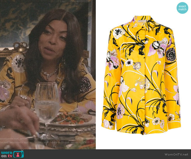 Embroidered Silk Pajama Shirt by Emilio Pucci worn by Taraji P. Henson on Empire
