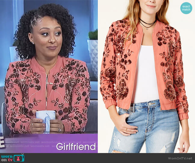Embellished Bomber Jacket by Endless Rose worn by Tamera Mowry on The Real