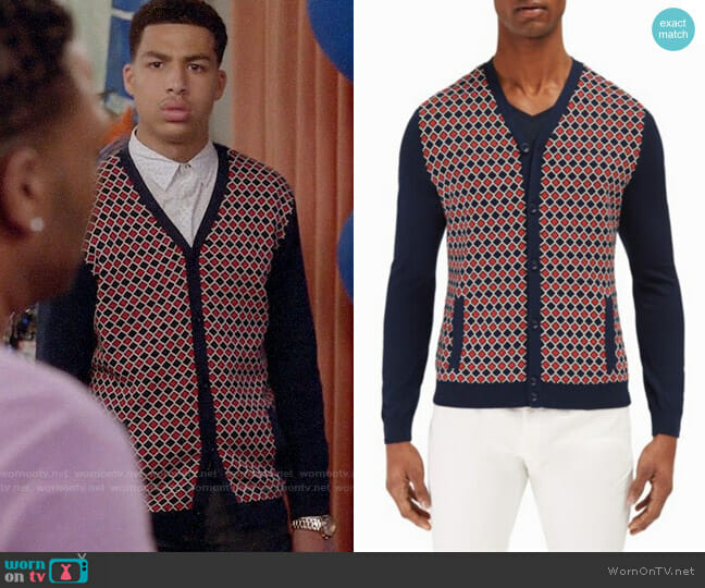 EFM-Engineered for Motion Mariner Printed Cardigan worn by Marcus Scribner on Blackish