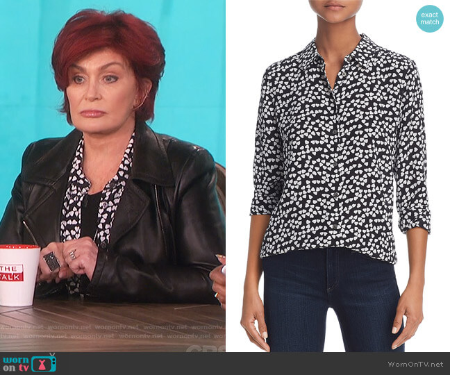 Essential Silk Heart Shirt by Equipment worn by Sharon Osbourne  on The Talk