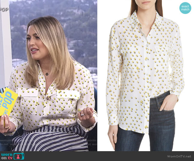 Signature Tennis Ball Silk Blouse by Equipment worn by Carissa Loethen Culiner  on E! News