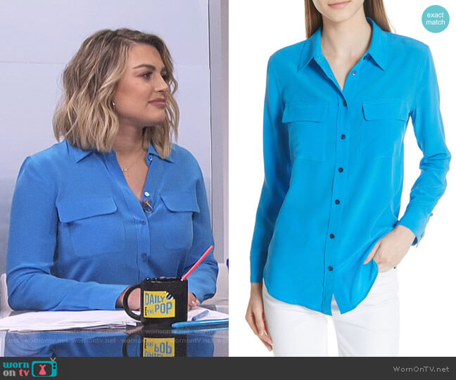 Slim Signature Silk Shirt in Brilliant Blue by Equipment worn by Carissa Loethen Culiner on E! News
