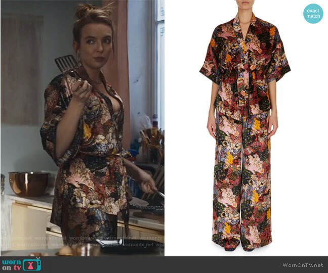 Floral Print Velvet Pajama Top and Pants worn by Villanelle (Jodie Comer) on Killing Eve