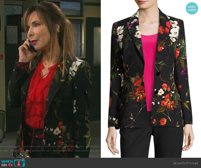 Floral Matelasse Jacket by Escada worn by Lauren Koslow on Days of our Lives