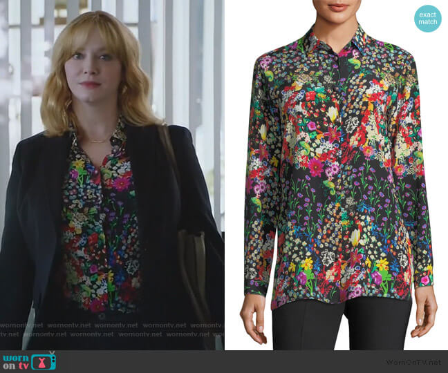 Micro Floral Long-Sleeve Silk Shirt by Etro worn by Beth Boland (Christina Hendricks) on Good Girls