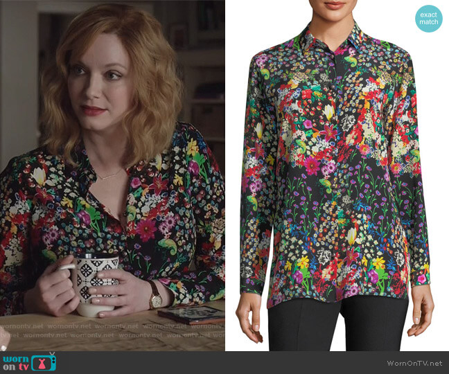 Micro Floral Long-Sleeve Silk Shirt by Etro worn by Christina Hendricks on Good Girls