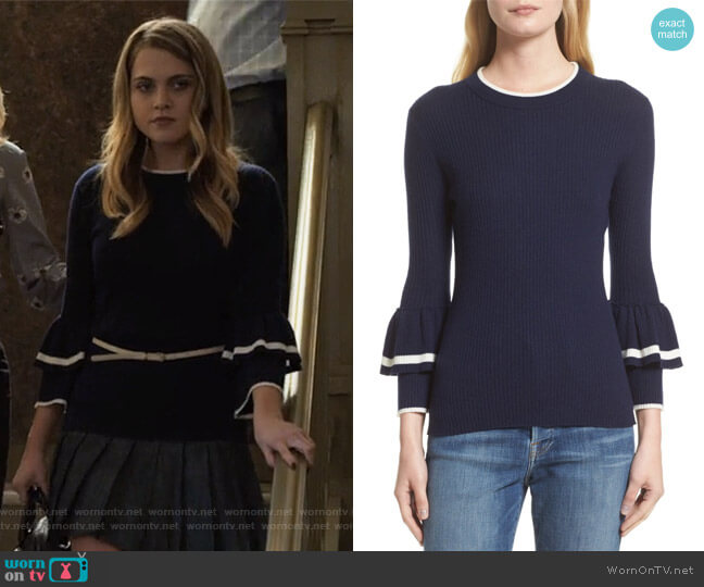 Double Ruffle Cuff Sweater by Frame worn by Anne Winters on 13 Reasons Why