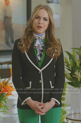 Fallon's black tipped blazer on Dynasty