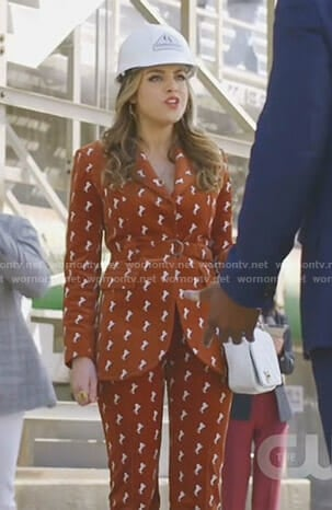 Fallon's brown velvet horse-embroidered suit on Dynasty