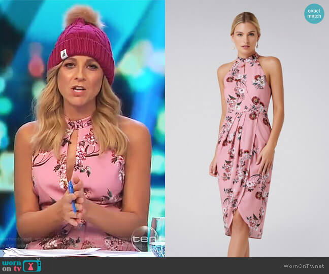 Bella Printed Drape Dress by Forever New worn by Carrie Bickmore  on The Project