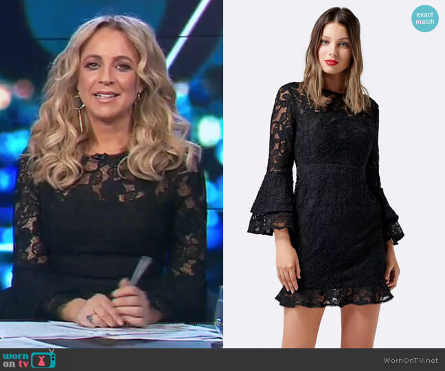 Jane Lace Flare Sleeve Dress by Forever New worn by Carrie Bickmore (Carrie Bickmore) on The Project