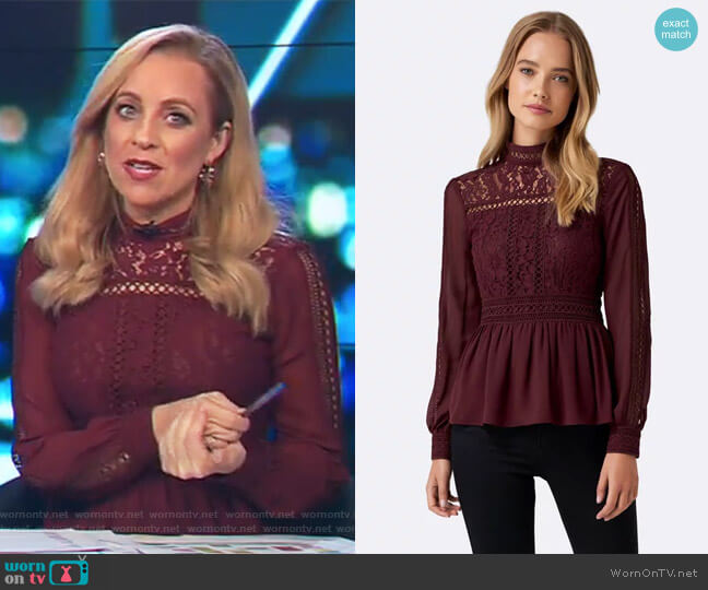 Luna Lace Bodice Trim Detail Blouse by Forever New worn by Carrie Bickmore (Carrie Bickmore) on The Project