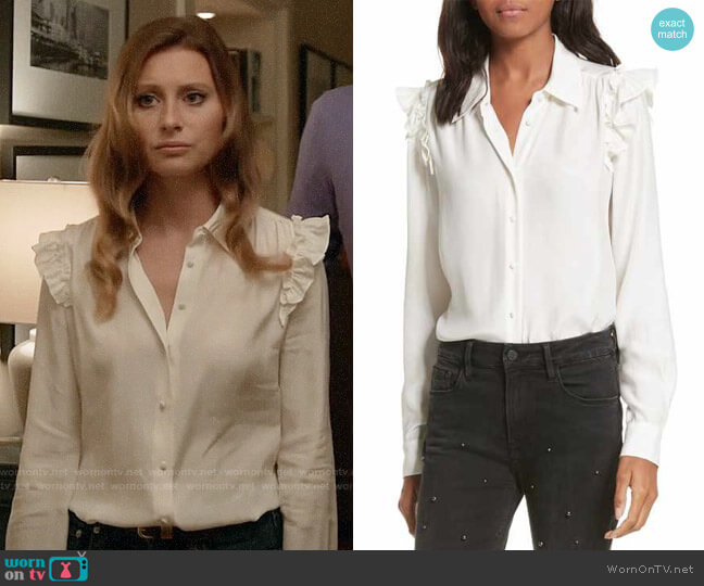 Frame Silk Ruffle Sleeve Blouse worn by Peyton Charles (Aly Michalka) on iZombie
