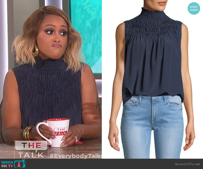 Smocked Sleeveless Silk Blouse by Frame worn by Eve on The Talk