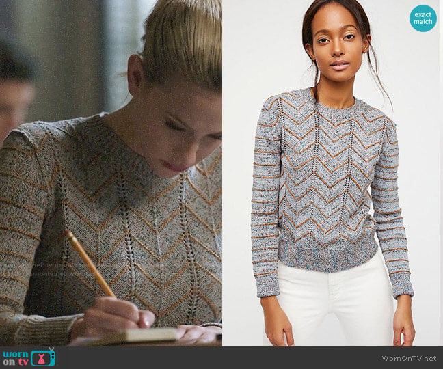 Free People Zig Zag Pullover worn by Betty Cooper (Lili Reinhart) on Riverdale