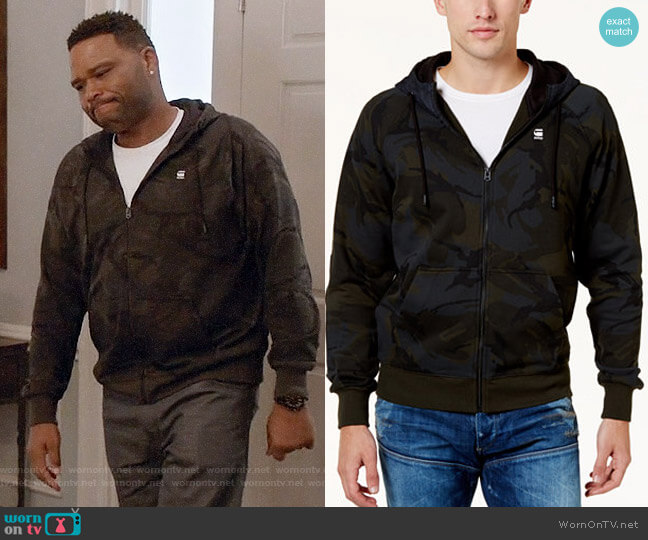 G-Star RAW Camo Zip-Front Hoodie  worn by Anthony Anderson on Blackish
