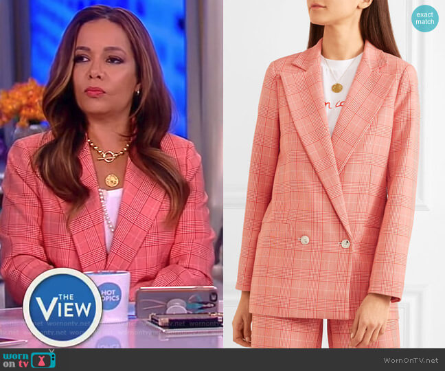 Checked cady blazer by Ganni worn by Sunny Hostin on The View