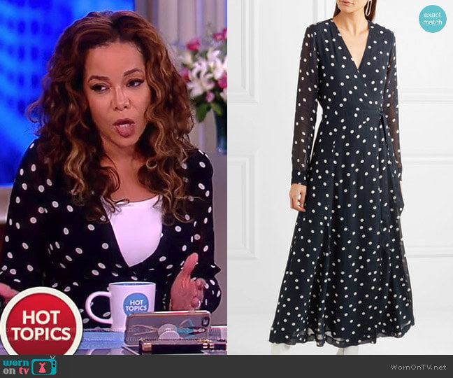 Polka-dot chiffon wrap dress by Ganni worn by Sunny Hostin on The View