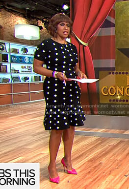 Gayle's polka dot ruffle hem dress on CBS This Morning
