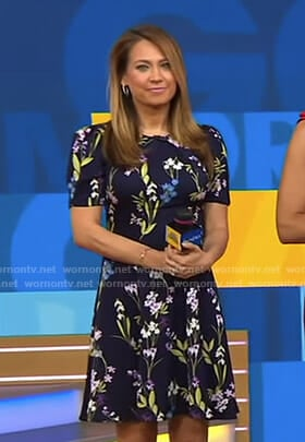 Ginger's navy floral dress on Good Morning America