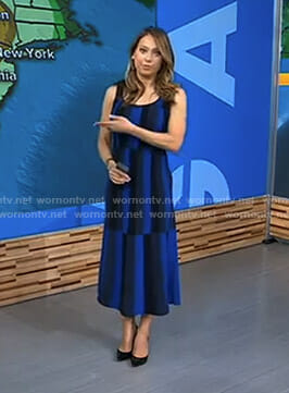 Ginger's blue and black striped midi dress on Good Morning America