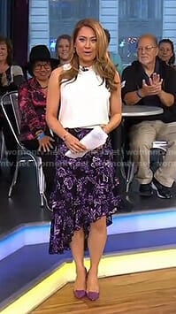 Ginger's purple floral tiered skirt on Good Morning America