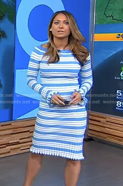 Ginger's blue striped ribbed dress on Good Morning America