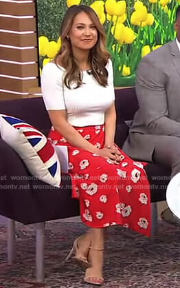 Ginger's white ribbed top and floral skirt on Good Morning America