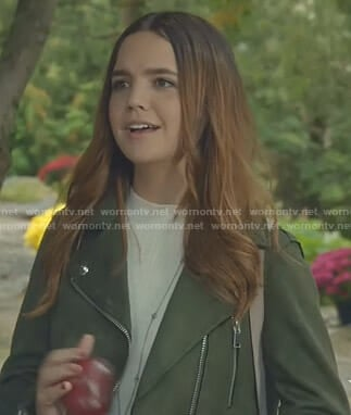 Grace's green suede moto jacket on Good Witch