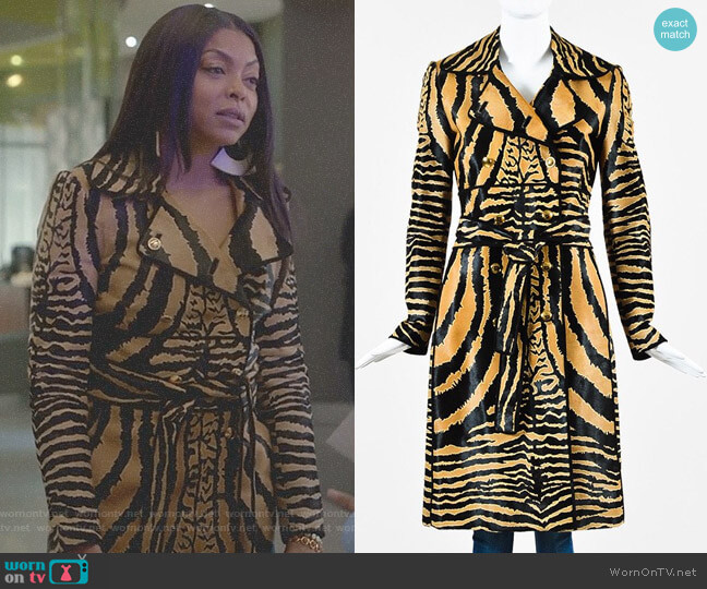 Animal Print Trench Coat by Gucci worn by Cookie Lyon (Taraji P. Henson) on Empire