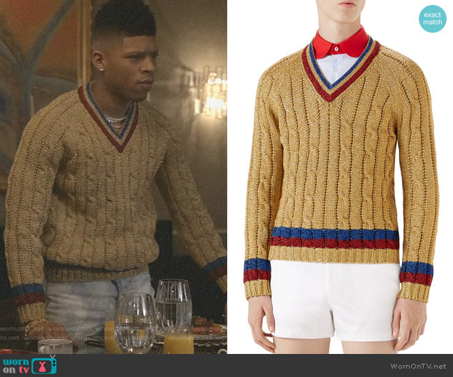 Cable Knit V-Neck Sweater by Gucci worn by Bryshere Y. Gray on Empire