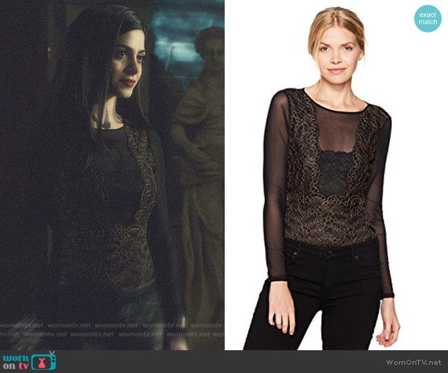 'Emma' Lace Bodysuit by Guess worn by Isabelle Lightwood (Emeraude Toubia ) on Shadowhunters