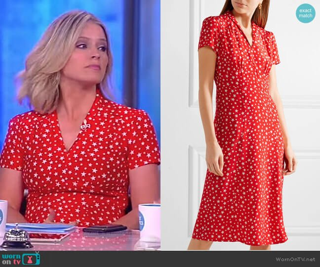 Morgan printed silk crepe de chine dress by HVN worn by Sara Haines on The View