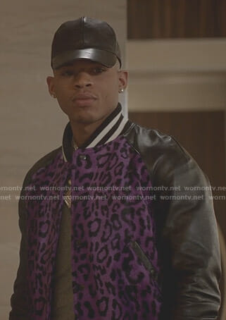 Hakeem's purple leopard bomber jacket on Empire