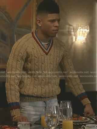 Hakeem's metallic cable knit sweater on Empire