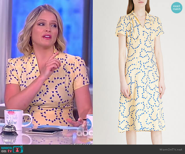 Morgan heart-print silk-satin midi dress by Harley Viera Newton worn by Sara Haines  on The View
