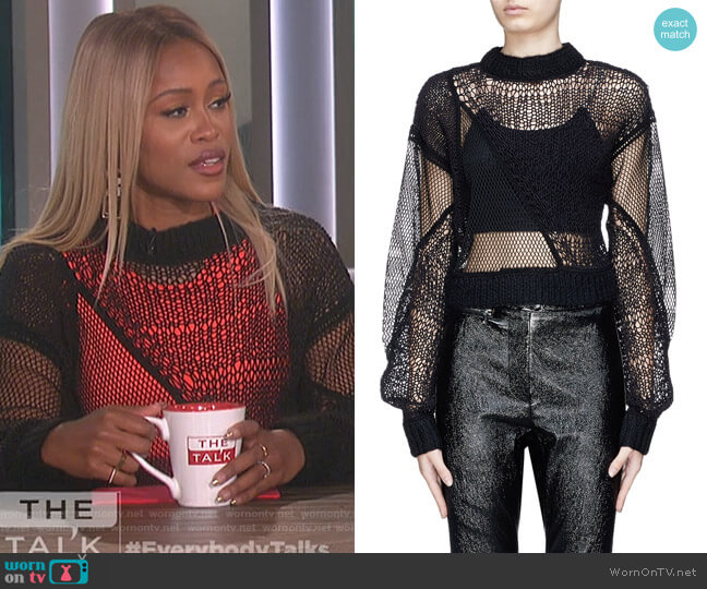Siouxie Fishnet Knit Patchwork Cropped Sweater by Helmut Lang worn by Eve  on The Talk