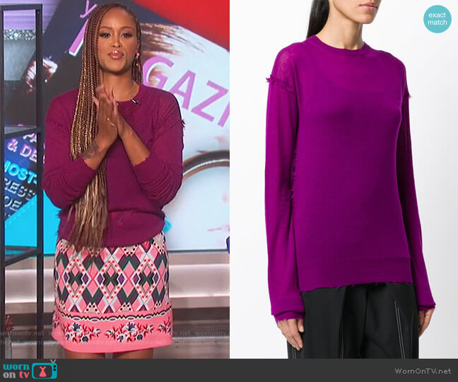 Distressed Effect Knitted Top by Helmut Lang worn by Eve (Eve) on The Talk