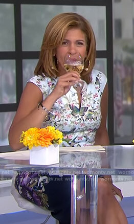 Hoda's butterfly and floral print dress on Today