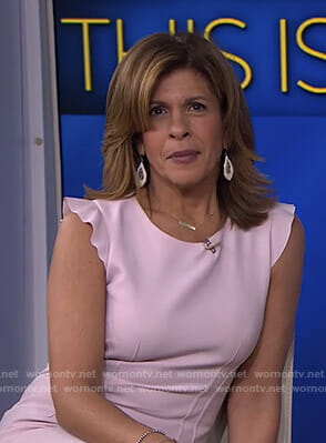 Hoda's pink ruffle sleeve dress on Today
