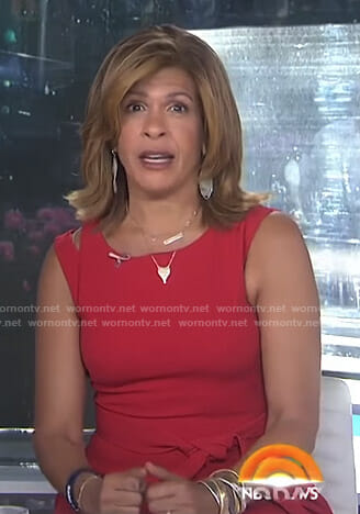 Hoda's red tie waist dress on Today